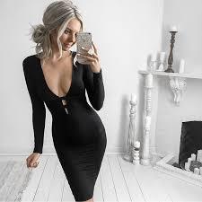tight dress wholesale v neck sleeved black tight dress