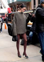 jenner sweater kendall jenner wears oversized knit at nyfw daily mail