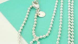 silver beads necklace tiffany images Tiffany co sterling silver 34 quot beaded chain necklace ebay jpg