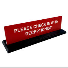 check in desk sign office signs desk signs acrylic desk sign