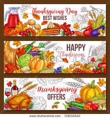 happy thanksgiving day greeting banners traditional stock vector