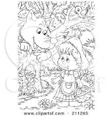 clipart illustration red riding hood carrying basket