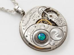 pocket watch chain necklace images Steampunk necklace elgin pocket watch movement on silver rope jpg