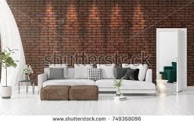 livingroom in living room white brick wall loft stock illustration 448023466