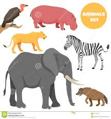 cute african animals set for kids in cartoon style stock vector