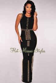 black and gold dress gold accent bandage dress