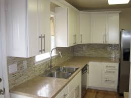 White Cabinet Kitchen Design Ideas Tan Beige Laminate Counters W Matching Mosaic Backsplash Kitchen