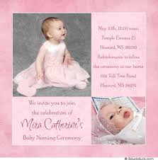 Ceremony Card Wording Naming Ceremony Invitation Baby Photo Card Pink