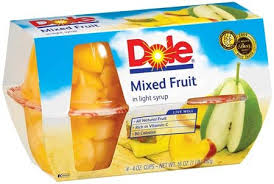 dole fruit bowls dole mixed fruit bowl in light syrup 4 4 oz cups pack of 6