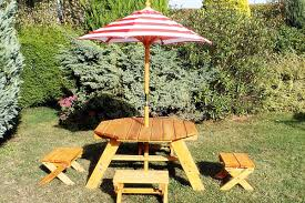 Folding Wood Picnic Table Portable Folding Wooden Octagon Picnic Table With Umbrella And