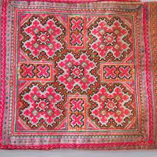 vintage needlepoint pink beaded pom pom thai textile loom imports