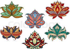 colorful paisley flowers with curved petals and leaves adorned by