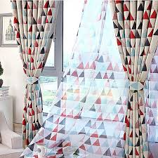Geometric Pattern Curtains On Sale Poly Cotton Triangle Geometric Curtains