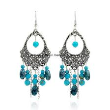 cheap earrings china fashion cheap hollow handmade oval tassel earrings