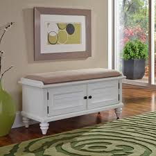 home styles bermuda upholstered storage bench brushed white