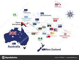 Flags Of The World Countries With Names Australia Oceania Region Vector High Detailed Map Countries Names