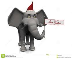cartoon elephant holding merry christmas flag royalty free stock