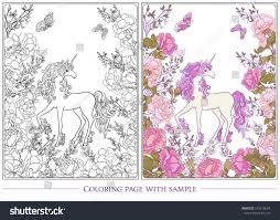 poster unicorn bouquet roses butterflies on stock vector 579516694
