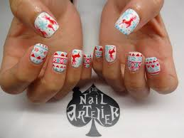 gel mani christmas prints the nail artelier