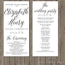 flat wedding programs simple wedding programs wedding order of service single sided flat
