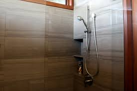 amazing neutral stones pattern marble shower wall tiled added