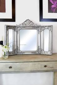 Vintage Style Vanity Table Mirror Elegant Silver Antique Style Design Free Standing
