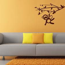 animated swinging playful monkey wall decal for kids