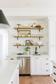 Decorate Shelves Cabinets U0026 Drawer Wood Three Tier Open Shelving Added Subway Tile