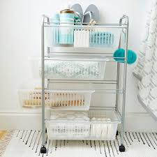 Bathroom Cart On Wheels by 4 Tier Slim Cart The Container Store