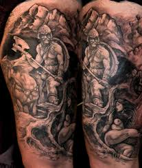 tattoos by scott trerrotola frazetta leg tattoo