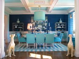 modern shade drum blue pendant lamps over blue tufted dining