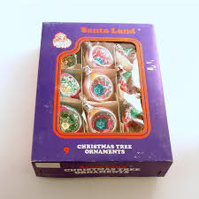 box vintage christmas ornaments glass ornaments poland indents