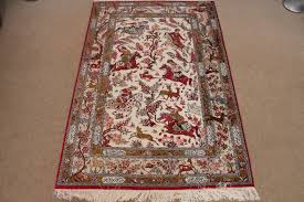 pictorial hunting qom persian rugs silk hunting qum carpets 3215