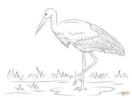 white stork coloring page free printable coloring pages