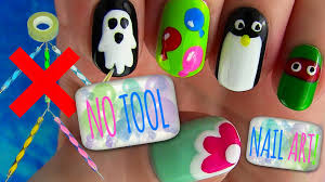 Nail Art Designs To Do At Home No Tool Nails Tutorial 5 Nail Art Designs Youtube