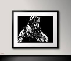 black and white art firefighter wall artfireman decor black zoom
