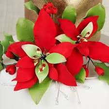 Christmas Cake Decorations Poinsettia holly berries and poinsettia combo 2 sprays holly berries