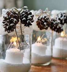 pine cone table decorations winter luminaries snowy pinecone candle jars