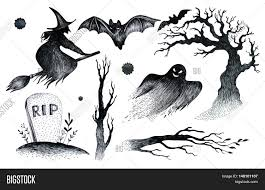 halloween elements halloween hand drawing black white graphic set icon drawn