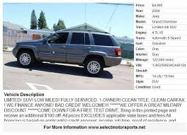 2004 jeep mpg 2004 jeep grand limited 4dr suv in san diego ca select