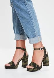 missguided khaki camouflage platform sandals in blue lyst