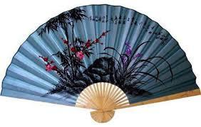 Oriental Decor Wall Fans Decorative Soft Blue Poem Asian Wall Fan Asian Home