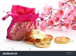 new year money bags new year decorationtraditional money baggold stock photo