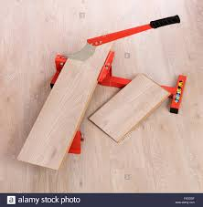 Tool To Cut Laminate Flooring Red Tool For Cutting Laminate On A Laminate Floor Stock Photo