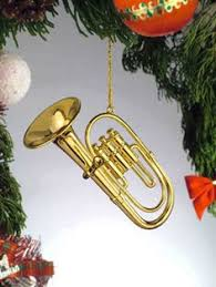 golden french horn personalized family christmas ornament
