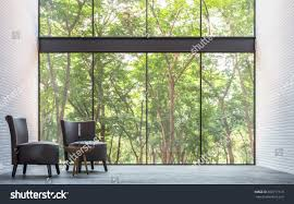 modern loft living room nature view stock illustration 658717519