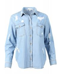 light blue button down shirt women s women s relaxed long sleeve distress chambray denim button down