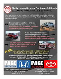 toyota motor services exclusive friends u0026 family deals from page honda u0026 page toyota