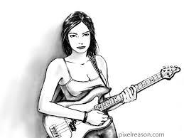 pixelreason com playing bass guitar pencil sketch
