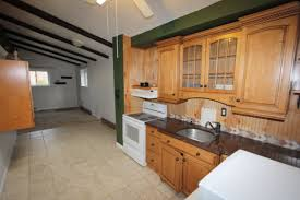 vaulted ceiling kitchen living room